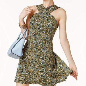 Michael Kors Quinn Cross Neck Floral Dress